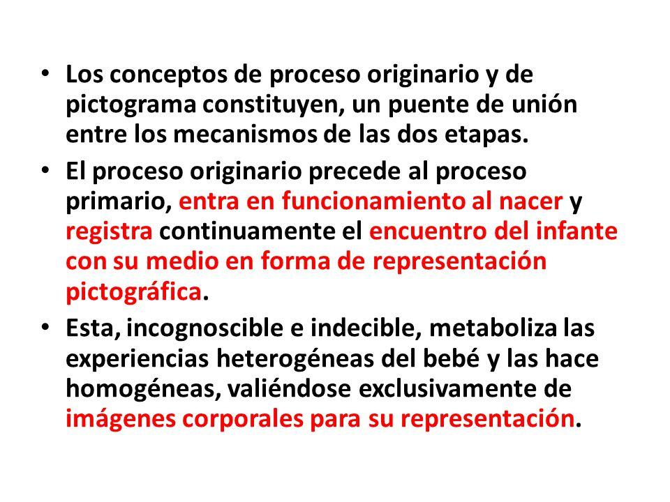 Los conceptos de proceso originario y de pictograma constituyen, un puente de unión entre los mecanismos de las dos etapas. El proceso originario prec