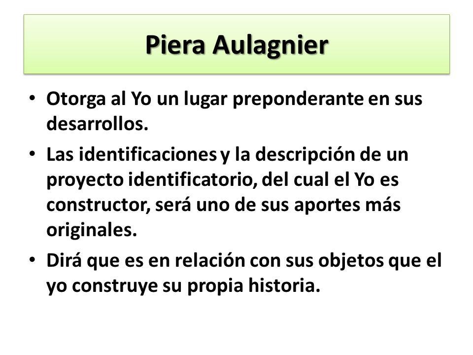 Piera Aulagnier Otorga al Yo un lugar preponderante en sus desarrollos. Las identificaciones y la descripción de un proyecto identificatorio, del cual