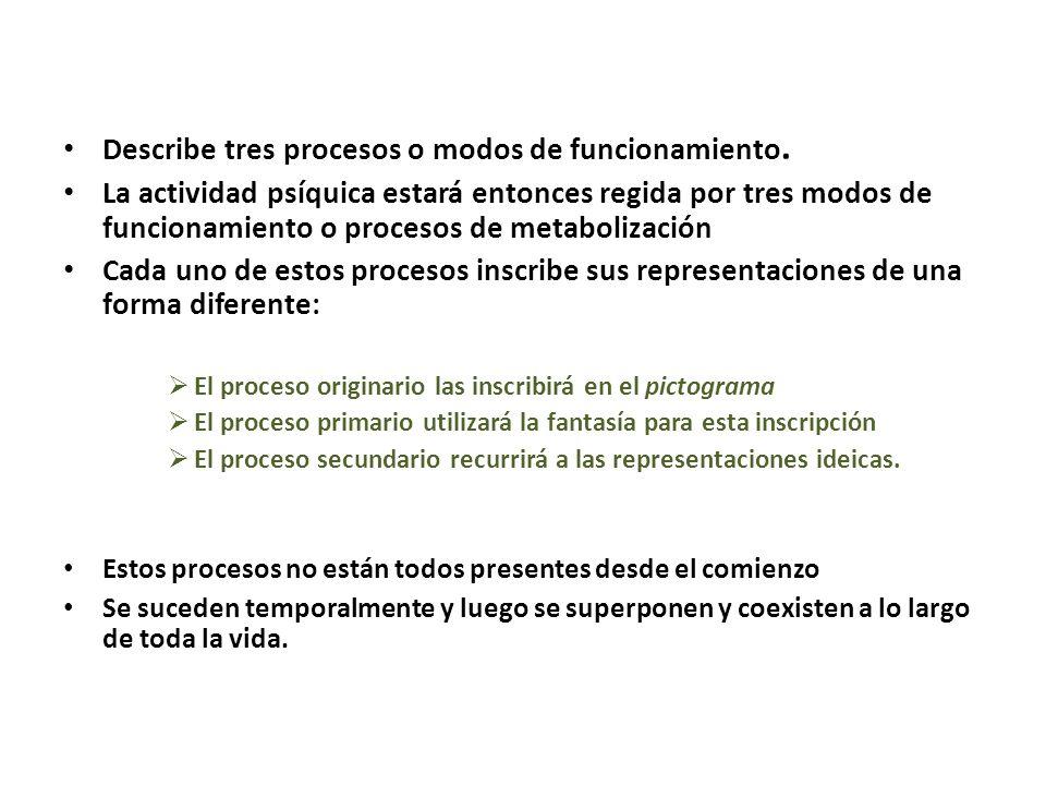 Describe tres procesos o modos de funcionamiento. La actividad psíquica estará entonces regida por tres modos de funcionamiento o procesos de metaboli
