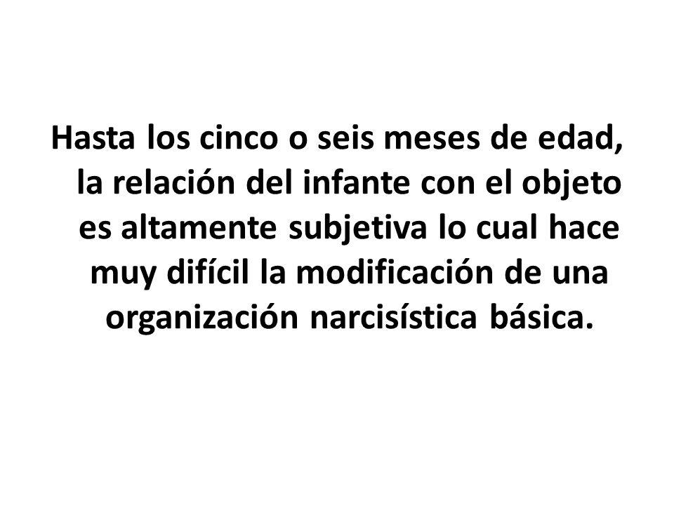 Hasta los cinco o seis meses de edad, la relación del infante con el objeto es altamente subjetiva lo cual hace muy difícil la modificación de una org