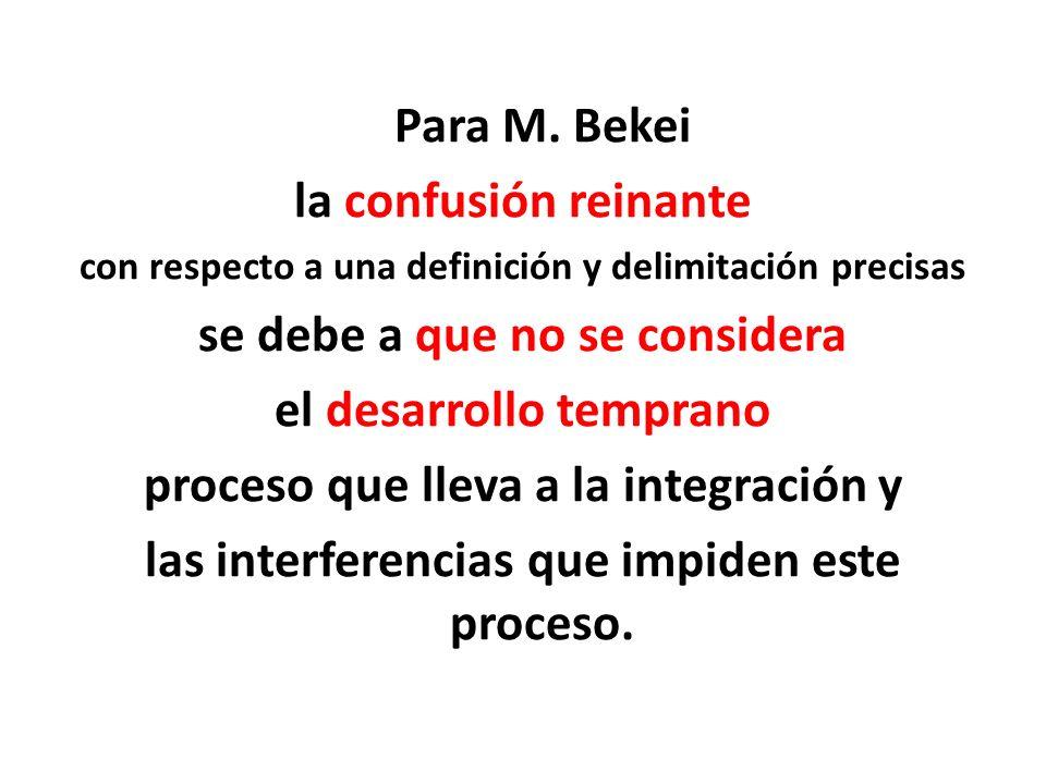 Para M. Bekei la confusión reinante con respecto a una definición y delimitación precisas se debe a que no se considera el desarrollo temprano proceso