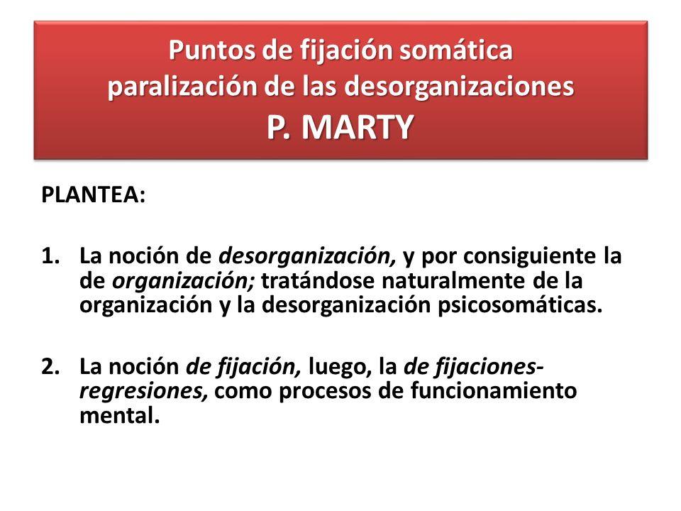 Puntos de fijación somática paralización de las desorganizaciones P. MARTY PLANTEA: 1.La noción de desorganización, y por consiguiente la de organizac