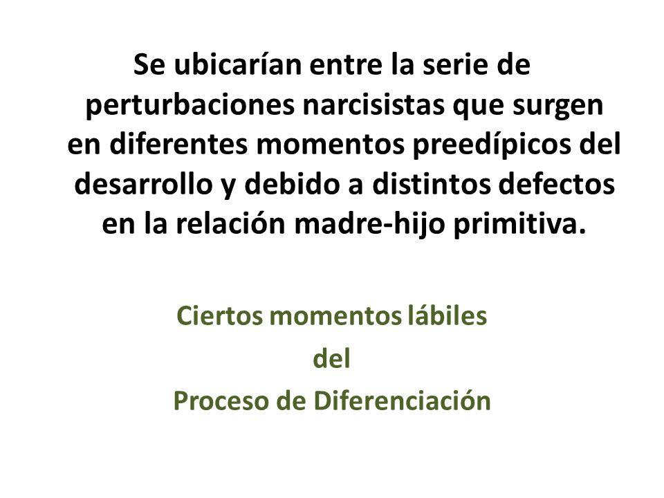 Se ubicarían entre la serie de perturbaciones narcisistas que surgen en diferentes momentos preedípicos del desarrollo y debido a distintos defectos e