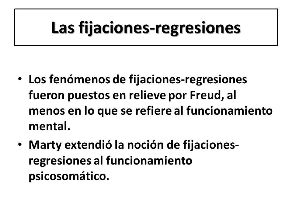 Las fijaciones-regresiones Los fenómenos de fijaciones-regresiones fueron puestos en relieve por Freud, al menos en lo que se refiere al funcionamient