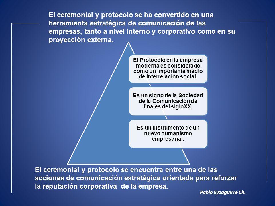 El Protocolo en la empresa moderna es considerado como un importante medio de interrelación social. Es un signo de la Sociedad de la Comunicación de f
