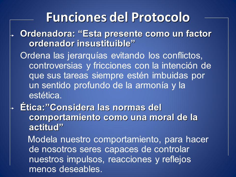 Funciones del Protocolo Ordenadora: Esta presente como un factor ordenador insustituible Ordena las jerarquías evitando los conflictos, controversias