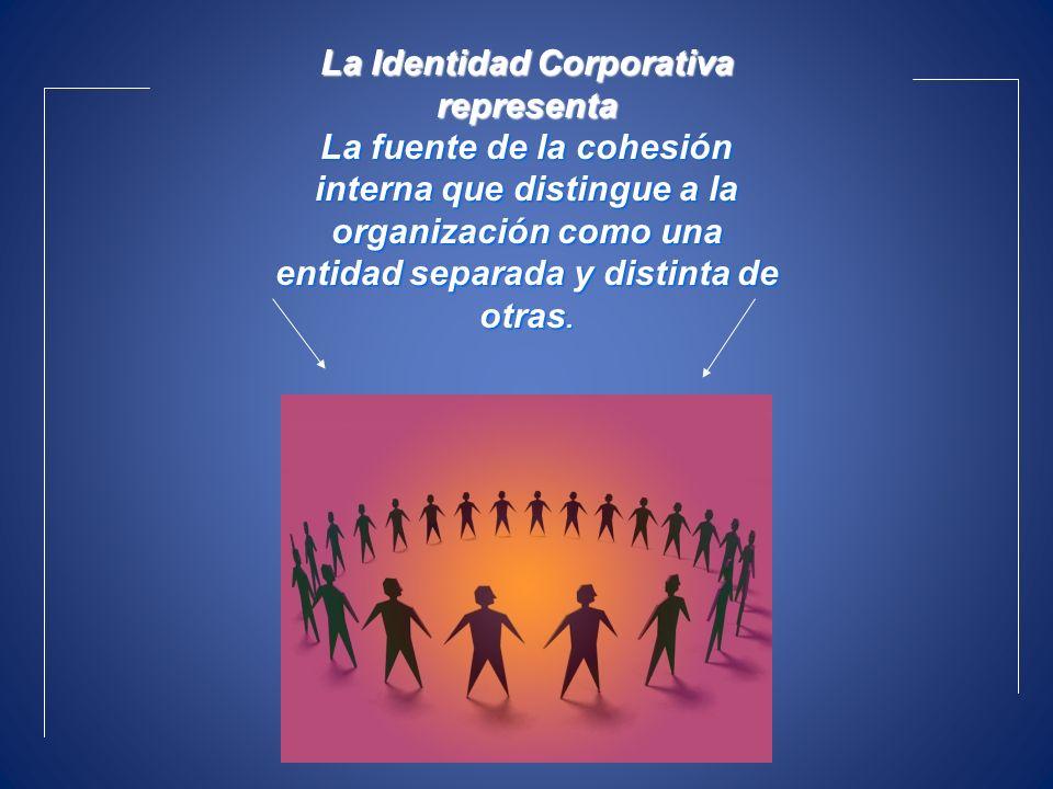 La Identidad Corporativa representa La fuente de la cohesión interna que distingue a la organización como una entidad separada y distinta de otras.