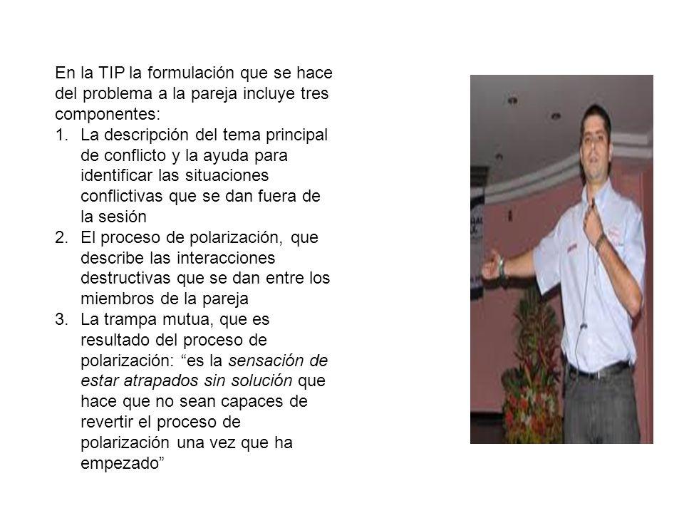 En la TIP la formulación que se hace del problema a la pareja incluye tres componentes: 1.La descripción del tema principal de conflicto y la ayuda pa