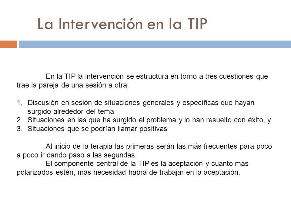 La Intervención en la TIP En la TIP la intervención se estructura en torno a tres cuestiones que trae la pareja de una sesión a otra: 1.Discusión en s