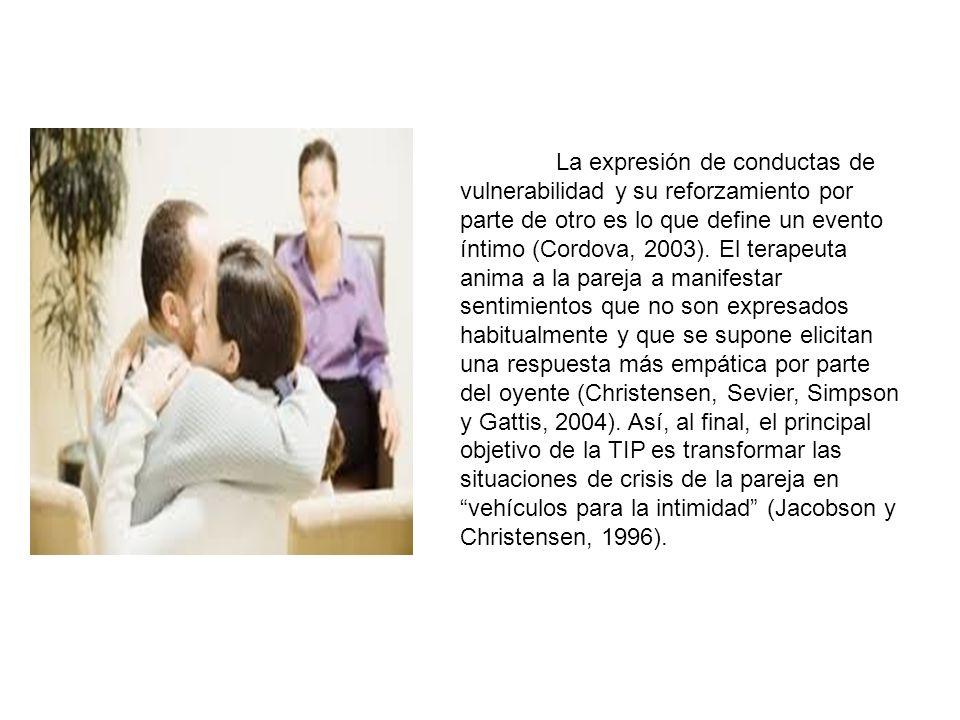 La expresión de conductas de vulnerabilidad y su reforzamiento por parte de otro es lo que define un evento íntimo (Cordova, 2003). El terapeuta anima
