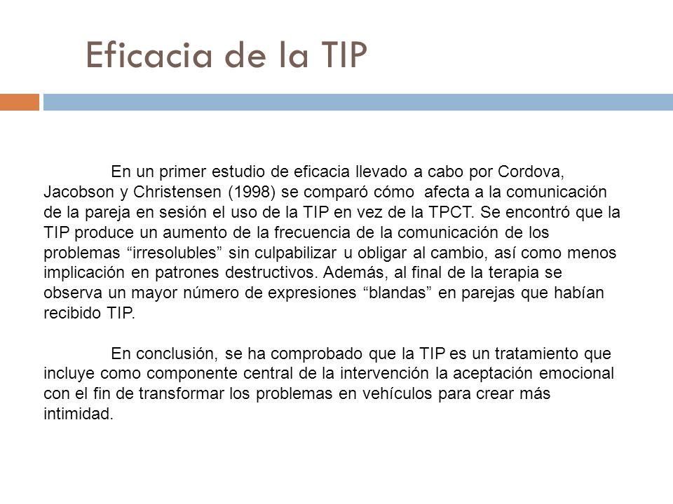 Eficacia de la TIP En un primer estudio de eficacia llevado a cabo por Cordova, Jacobson y Christensen (1998) se comparó cómo afecta a la comunicación