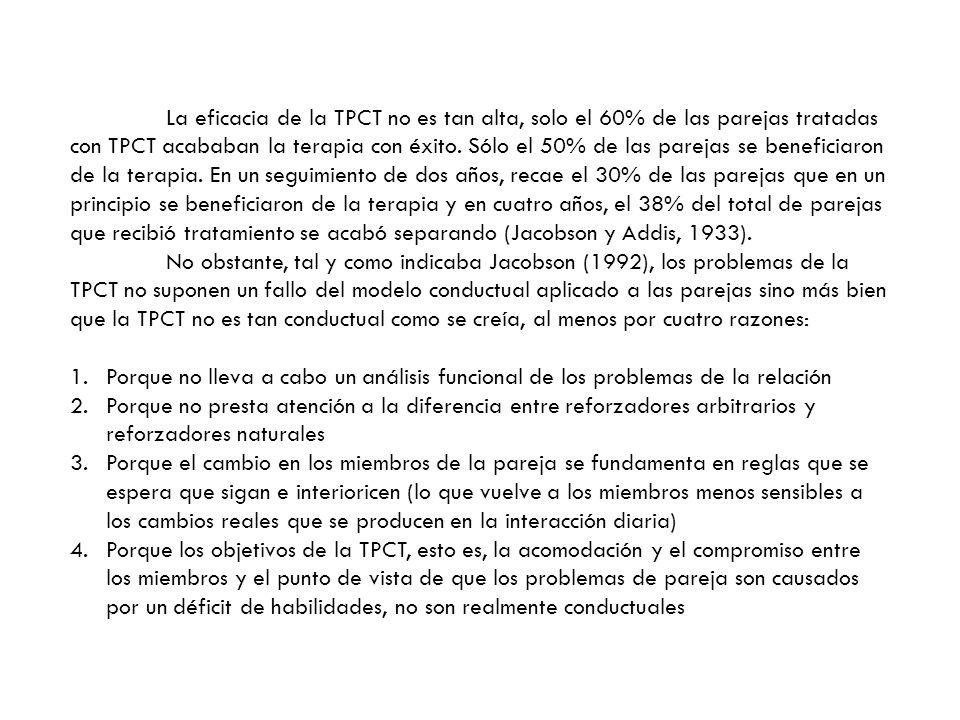 La eficacia de la TPCT no es tan alta, solo el 60% de las parejas tratadas con TPCT acababan la terapia con éxito. Sólo el 50% de las parejas se benef