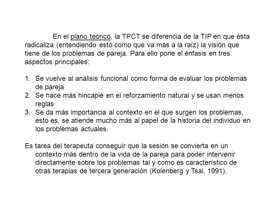 En el plano teórico, la TPCT se diferencia de la TIP en que ésta radicaliza (entendiendo esto como que va más a la raíz) la visión que tiene de los pr