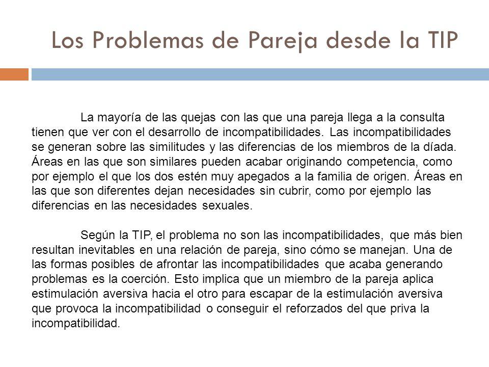 Los Problemas de Pareja desde la TIP La mayoría de las quejas con las que una pareja llega a la consulta tienen que ver con el desarrollo de incompati