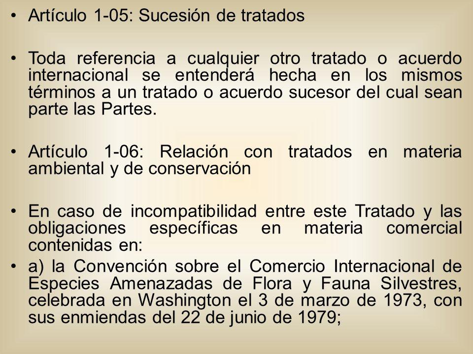 Artículo 1-05: Sucesión de tratados Toda referencia a cualquier otro tratado o acuerdo internacional se entenderá hecha en los mismos términos a un tratado o acuerdo sucesor del cual sean parte las Partes.