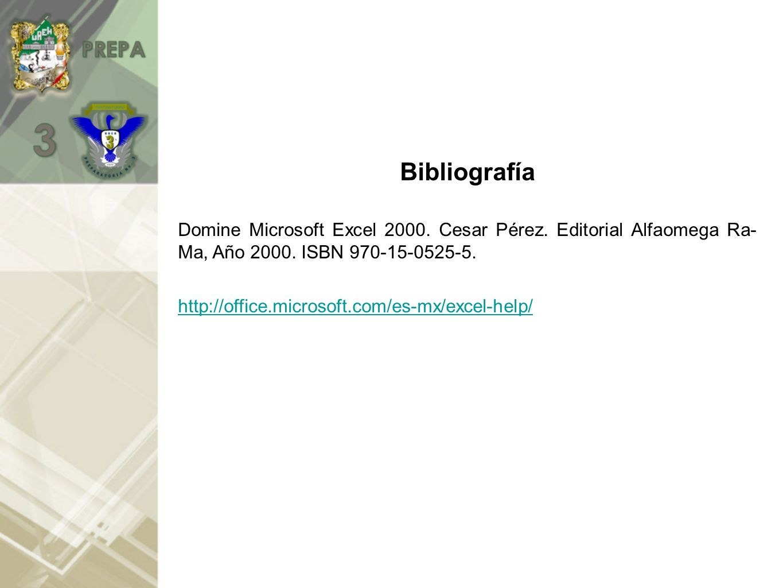 Bibliografía Domine Microsoft Excel 2000.Cesar Pérez.