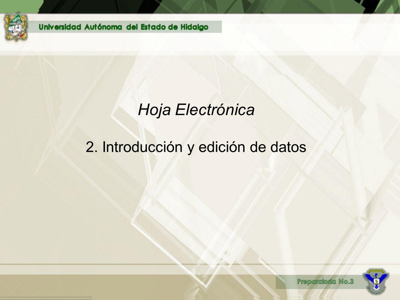 Hoja Electrónica 2. Introducción y edición de datos