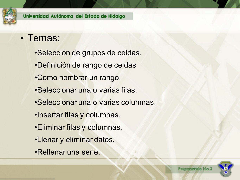 Temas: Selección de grupos de celdas.Definición de rango de celdas Como nombrar un rango.