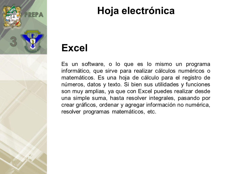 Excel Es un software, o lo que es lo mismo un programa informático, que sirve para realizar cálculos numéricos o matemáticos.