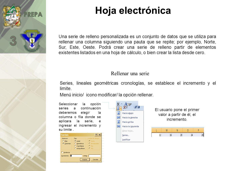 Hoja electrónica Series, lineales geométricas cronologías, se establece el incremento y el limite.