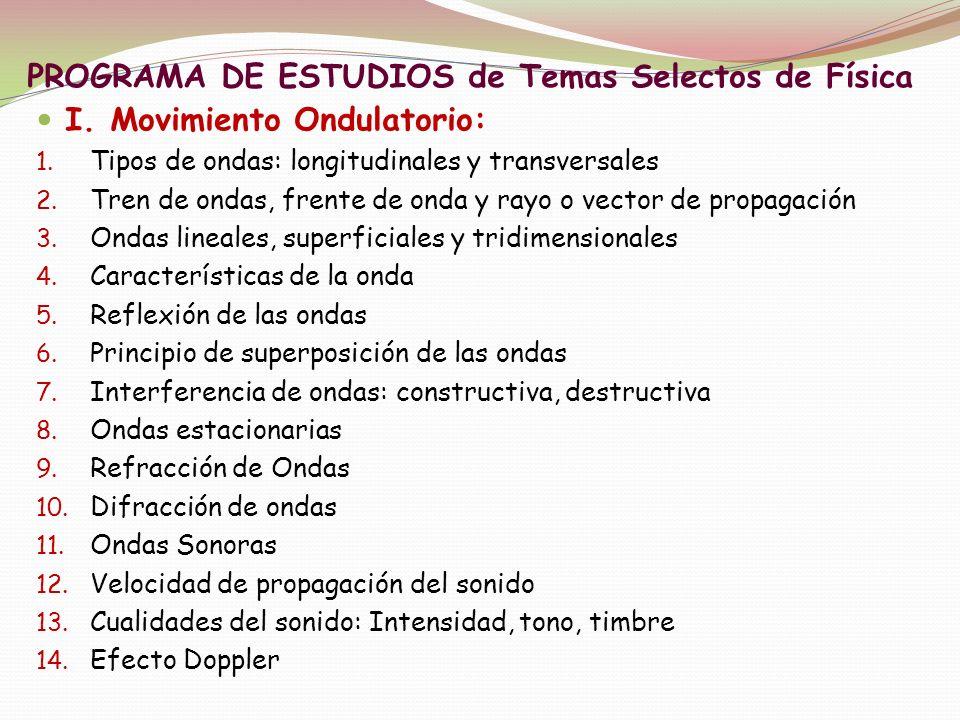 PROGRAMA DE ESTUDIOS de Temas Selectos de Física I. Movimiento Ondulatorio: 1. Tipos de ondas: longitudinales y transversales 2. Tren de ondas, frente