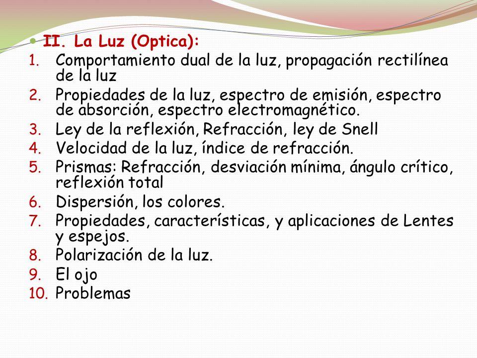 II. La Luz (Optica): 1. Comportamiento dual de la luz, propagación rectilínea de la luz 2. Propiedades de la luz, espectro de emisión, espectro de abs