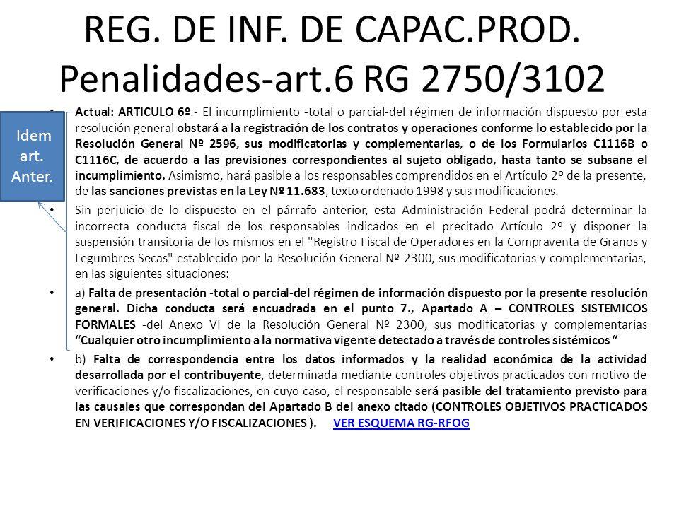 REG. DE INF. DE CAPAC.PROD. Penalidades-art.6 RG 2750/3102 Actual: ARTICULO 6º.- El incumplimiento -total o parcial-del régimen de información dispues