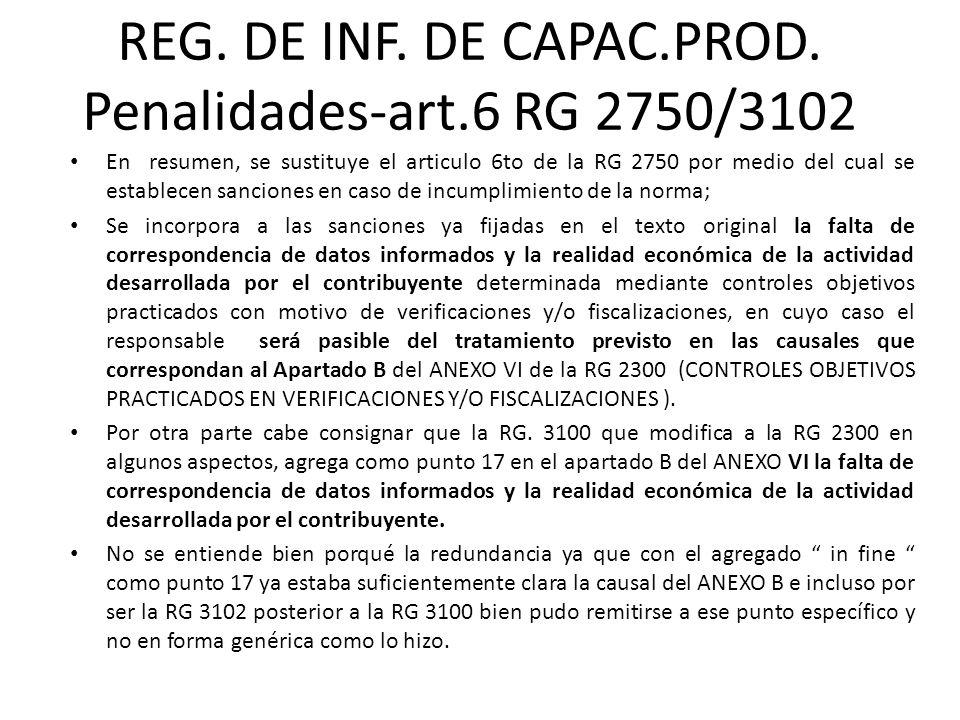 REG. DE INF. DE CAPAC.PROD. Penalidades-art.6 RG 2750/3102 En resumen, se sustituye el articulo 6to de la RG 2750 por medio del cual se establecen san