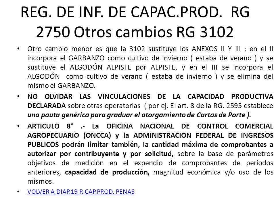 REG. DE INF. DE CAPAC.PROD. RG 2750 Otros cambios RG 3102 Otro cambio menor es que la 3102 sustituye los ANEXOS II Y III ; en el II incorpora el GARBA