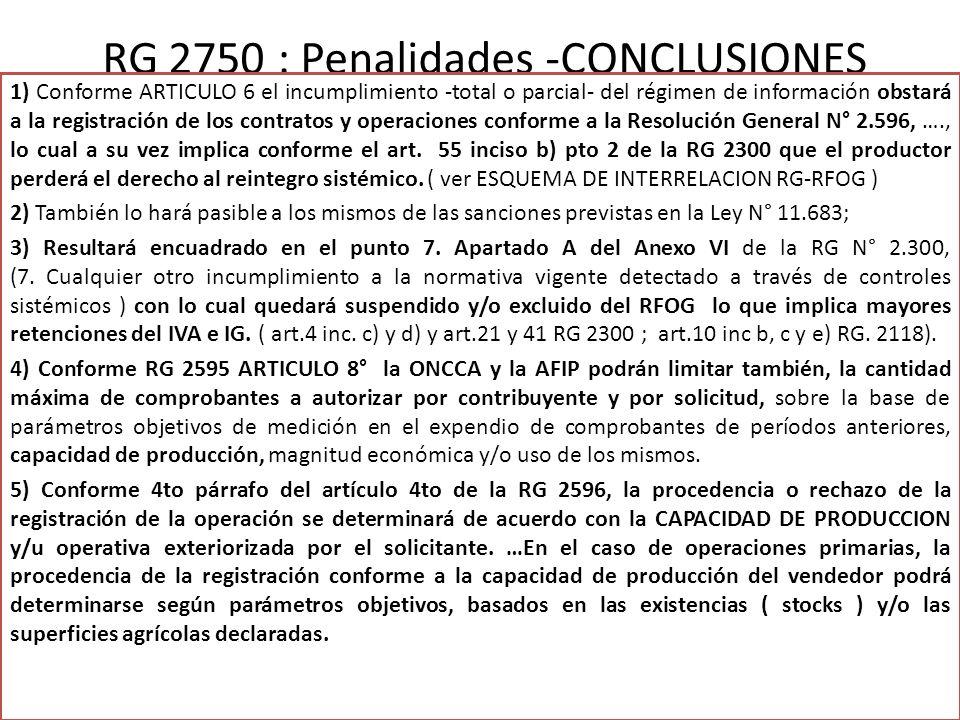 RG 2750 : Penalidades -CONCLUSIONES 1) Conforme ARTICULO 6 el incumplimiento -total o parcial- del régimen de información obstará a la registración de