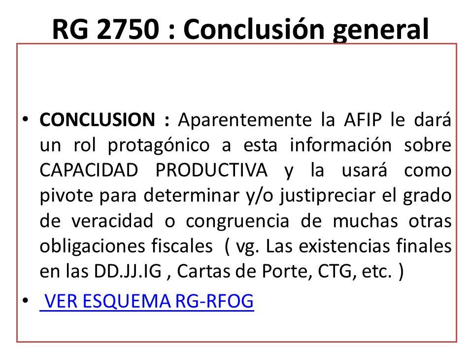 RG 2750 : Conclusión general CONCLUSION : Aparentemente la AFIP le dará un rol protagónico a esta información sobre CAPACIDAD PRODUCTIVA y la usará co
