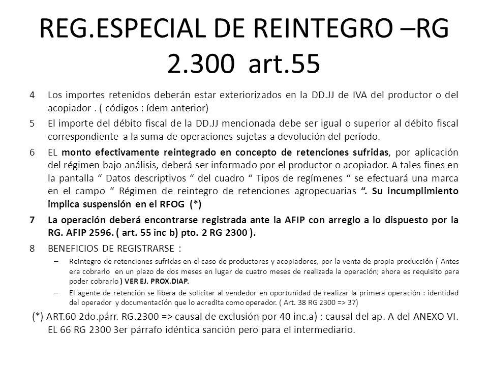 REG.ESPECIAL DE REINTEGRO –RG 2.300 art.55 4Los importes retenidos deberán estar exteriorizados en la DD.JJ de IVA del productor o del acopiador. ( có
