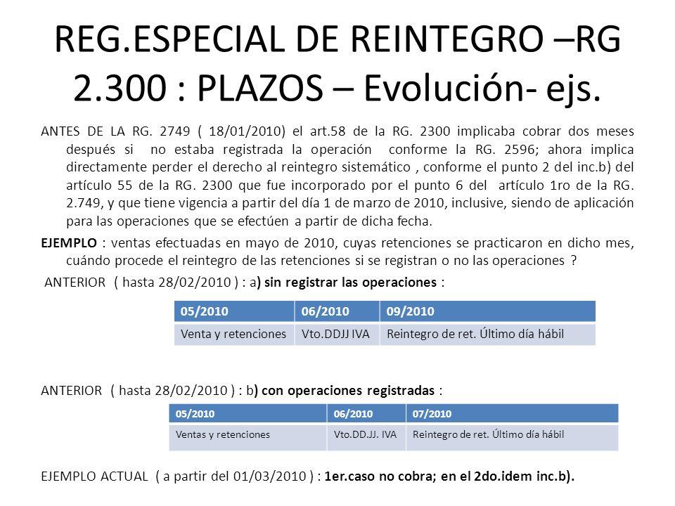 REG.ESPECIAL DE REINTEGRO –RG 2.300 : PLAZOS – Evolución- ejs. ANTES DE LA RG. 2749 ( 18/01/2010) el art.58 de la RG. 2300 implicaba cobrar dos meses