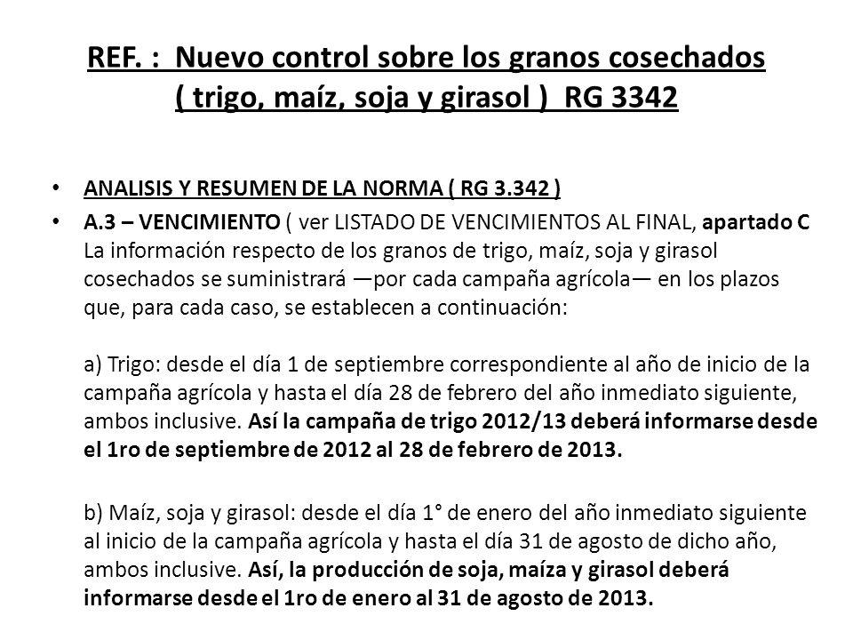 REF. : Nuevo control sobre los granos cosechados ( trigo, maíz, soja y girasol ) RG 3342 ANALISIS Y RESUMEN DE LA NORMA ( RG 3.342 ) A.3 – VENCIMIENTO