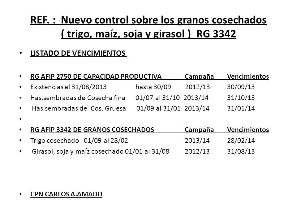 REF. : Nuevo control sobre los granos cosechados ( trigo, maíz, soja y girasol ) RG 3342 LISTADO DE VENCIMIENTOS RG AFIP 2750 DE CAPACIDAD PRODUCTIVA