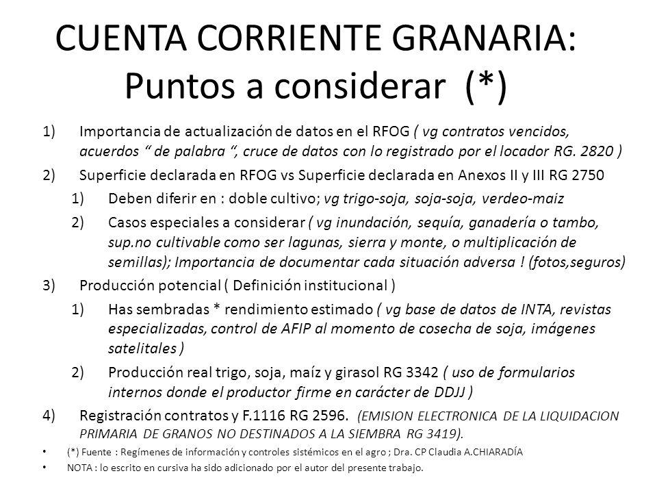CUENTA CORRIENTE GRANARIA: Puntos a considerar (*) 1)Importancia de actualización de datos en el RFOG ( vg contratos vencidos, acuerdos de palabra, cr