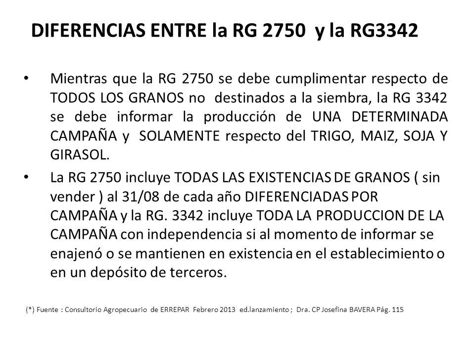 DIFERENCIAS ENTRE la RG 2750 y la RG3342 Mientras que la RG 2750 se debe cumplimentar respecto de TODOS LOS GRANOS no destinados a la siembra, la RG 3