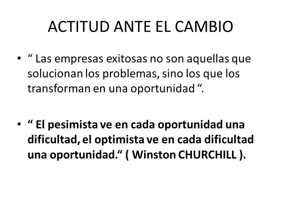 ACTITUD ANTE EL CAMBIO Las empresas exitosas no son aquellas que solucionan los problemas, sino los que los transforman en una oportunidad. El pesimis