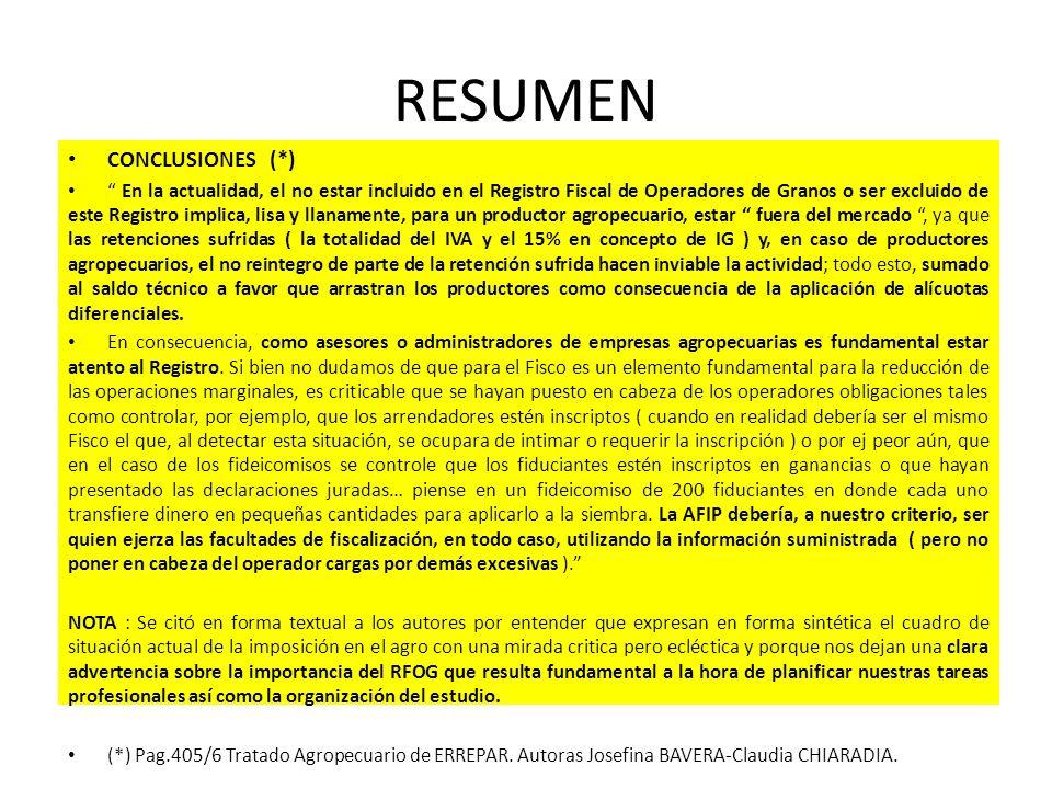 RESUMEN CONCLUSIONES (*) En la actualidad, el no estar incluido en el Registro Fiscal de Operadores de Granos o ser excluido de este Registro implica,