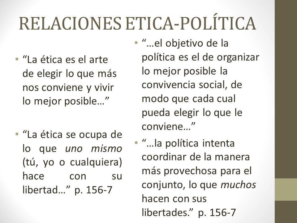 RELACIONES ETICA-POLÍTICA La ética es el arte de elegir lo que más nos conviene y vivir lo mejor posible… La ética se ocupa de lo que uno mismo (tú, y
