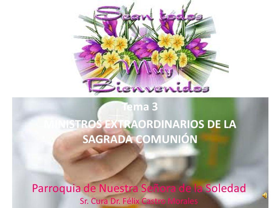 Tema 3 MINISTROS EXTRAORDINARIOS DE LA SAGRADA COMUNIÓN Parroquia de Nuestra Señora de la Soledad Sr.