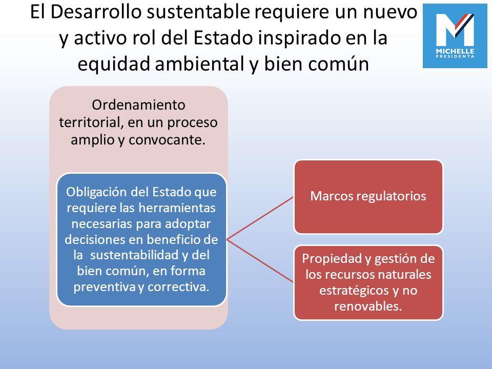 El Desarrollo sustentable requiere un nuevo y activo rol del Estado inspirado en la equidad ambiental y bien común Ordenamiento territorial, en un pro