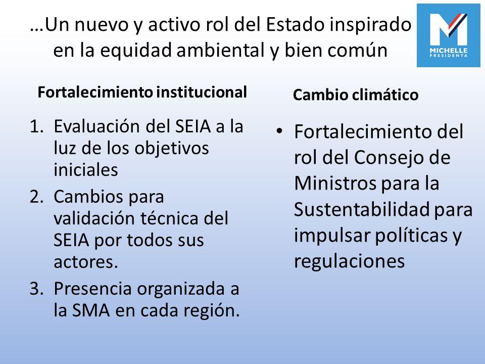 …Un nuevo y activo rol del Estado inspirado en la equidad ambiental y bien común 1.Evaluación del SEIA a la luz de los objetivos iniciales 2.Cambios p