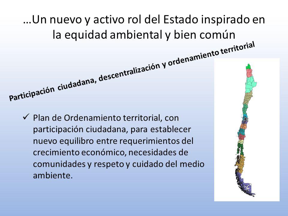 …Un nuevo y activo rol del Estado inspirado en la equidad ambiental y bien común Participación ciudadana, descentralización y ordenamiento territorial