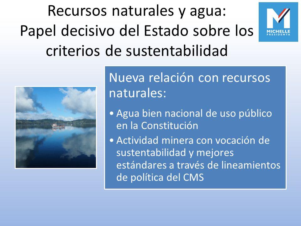Recursos naturales y agua: Papel decisivo del Estado sobre los criterios de sustentabilidad Nueva relación con recursos naturales: Agua bien nacional