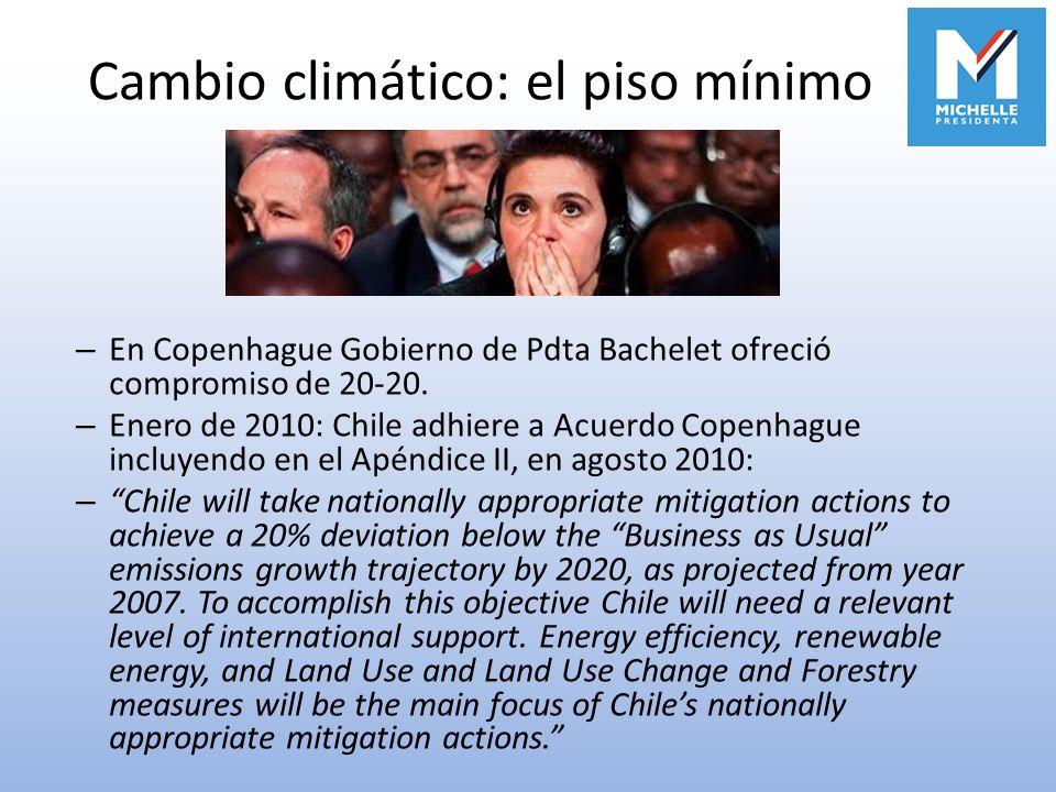 Cambio climático: el piso mínimo – En Copenhague Gobierno de Pdta Bachelet ofreció compromiso de 20-20. – Enero de 2010: Chile adhiere a Acuerdo Copen