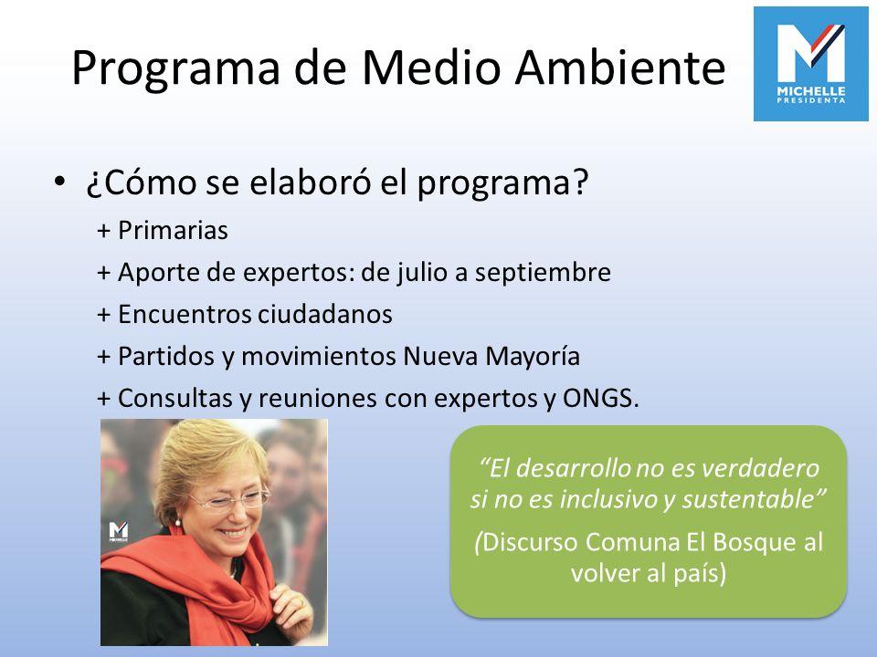 Programa de Medio Ambiente ¿Cómo se elaboró el programa? + Primarias + Aporte de expertos: de julio a septiembre + Encuentros ciudadanos + Partidos y