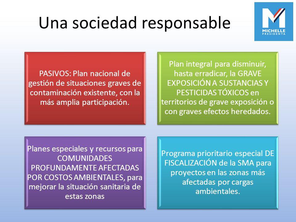 Una sociedad responsable PASIVOS: Plan nacional de gestión de situaciones graves de contaminación existente, con la más amplia participación. Plan int