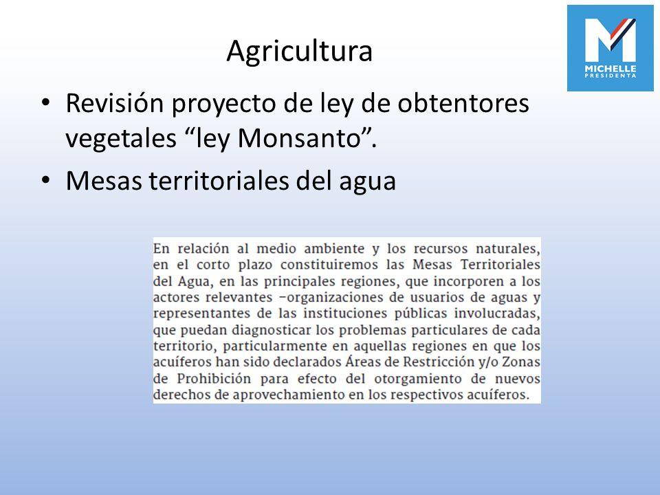 Agricultura Revisión proyecto de ley de obtentores vegetales ley Monsanto. Mesas territoriales del agua