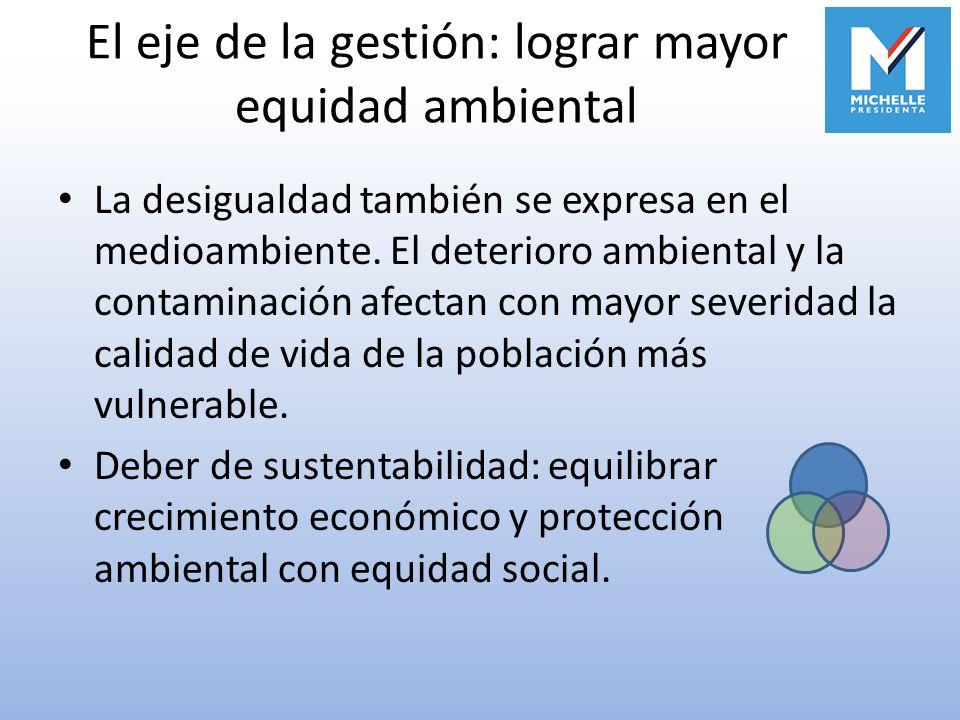 El eje de la gestión: lograr mayor equidad ambiental La desigualdad también se expresa en el medioambiente. El deterioro ambiental y la contaminación